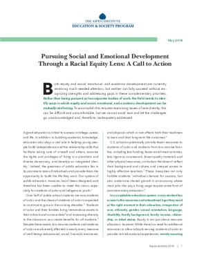 Pursuing Social and Emotional Development Through a Racial Equity Lens: A Call to Action