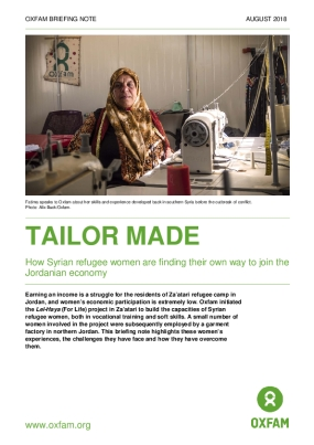 Tailor Made: How Syrian Refugee Women Are Finding Their Own Way to Join the Jordanian Economy