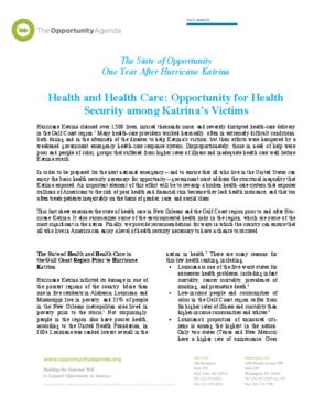 Katrina One Year Later - Health and Health Care for Katrina's Victims